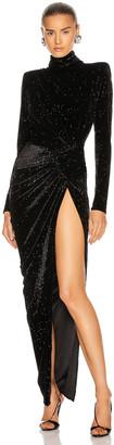 Alexandre Vauthier Sparking Velvet Mock Neck Gown in Black | FWRD