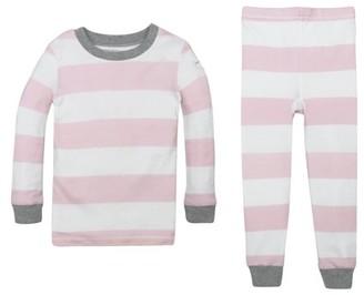 Burt's Bees Baby Organic Cotton Baby Girls & Toddler Girls Rugby Stripe Snug Fit Long Sleeve Pajamas, 2pc Set (12M-5T)