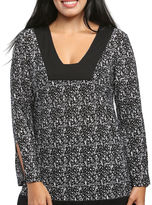 24/7 Comfort Apparel Black & White Printed Tunic Top