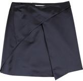 Asymmetric silk-satin skirt