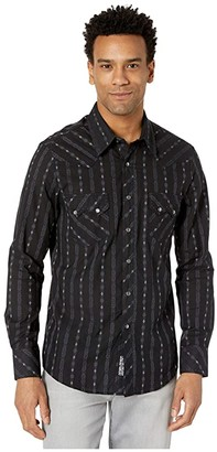 Rock and Roll Cowboy Jacquard Long Sleeve Snap B2S4054 (Black) Men's Clothing