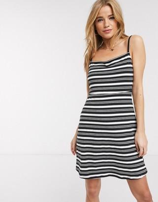 Asos DESIGN square neck mini sundress in black and white stripe