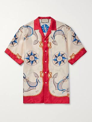 Gucci Camp-Collar Printed Silk-Twill Shirt - Men - Red