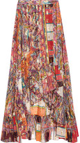 Etro Metallic Printed Fil Coupé Silk-blend Georgette Wrap Skirt - Pink