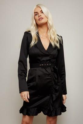 Little Mistress Vittoria Black Double-Breasted Belted Blazer Dress