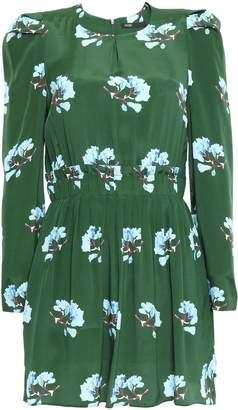 Maje Gathered Crepe De Chine Mini Dress