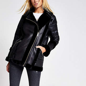 River Island Black faux fur padded aviator jacket