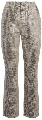 Good American Snake Print Good Straight Cropped Jeans