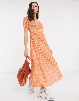 Résumé Resume taika mesh check maxi dress in neon orange