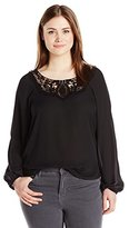 Eyeshadow Women's Woven Boat Neck Top with Lace Neck Applique