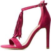 Charlotte Russe Fringed T-Strap Dress Sandals