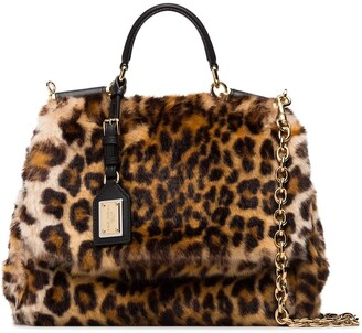 Dolce & Gabbana brown and yellow sicily calf hair shoulder bag