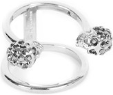 Alexander McQueen Twin skull silver-plated double band ring
