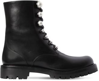 Rene Caovilla 25mm Pearls Leather Biker Boots