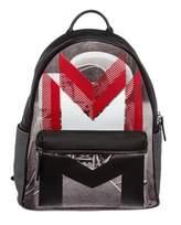 MCM Pre Owned Red Black Coated Canvas Moonwalker Series Backpack.