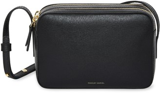 Mansur Gavriel Saffiano Double Zip Crossbody - Black