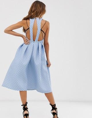 Asos Design DESIGN spot print prom mini dress with strap detail-Blue