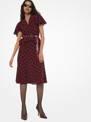 Michael Kors Polka Dot Silk Crepe De Chine Peplum Flutter-Sleeve Dress