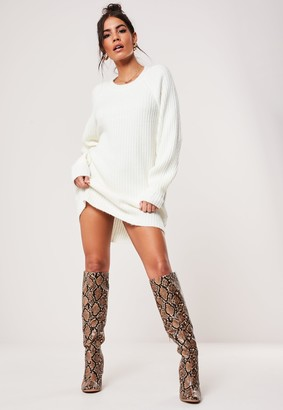 Missguided White Crew Neck Ribbed Raglan Knitted Jumper Dress