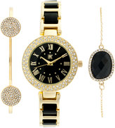 INC International Concepts Women's Gold-Tone and Black Acrylic Bracelet Watch & Bracelets Set 30mm, Only at Macy's