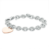 """Zales 7.6mm Chunky Link Chain Bracelet with Heart Charm in Sterling Silver and 14K Rose Gold Plate - 7.5"""""""