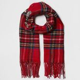 River Island Womens Red tartan check brooch embellished scarf