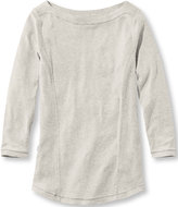 L.L. Bean Women's Pima Cotton/Modal Fitted Tee, Three-Quarter-Sleeve Boatneck