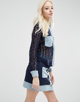 Sister Jane Carnaby Blouse In Crochet With Denim Trims