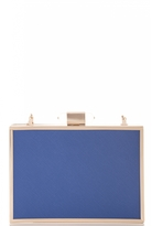Quiz Blue and Gold Plated Box Bag