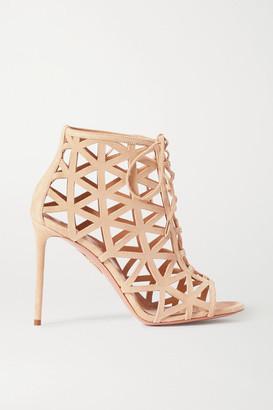 Aquazzura Graphiste 105 Laser-cut Suede Sandals - Neutral
