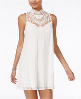 City Studios Juniors' Crochet Lace Mock-Neck Dress
