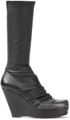 Rick Owens Draped Stretch-leather Platform Boots