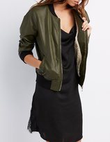 Charlotte Russe Faux Leather Sherpa-Lined Bomber Jacket