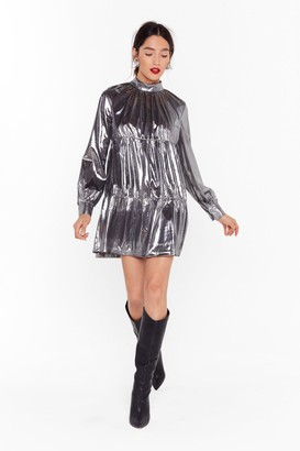Nasty Gal Womens Now is the Shine Metallic Smock Dress - Silver