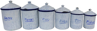 One Kings Lane Vintage 1920s French Kitchen Canisters - Set of 6 - Rose Victoria