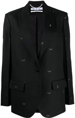 Off-White Embroidered Single-Breasted Blazer
