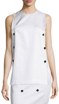 Edun Sleeveless Fringe-Trim Tunic, White