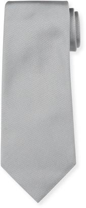 Ermenegildo Zegna Solid Silk Twill Tie, Silver
