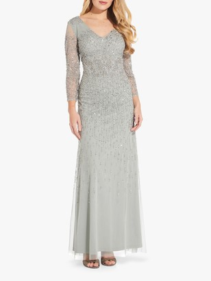 Adrianna Papell Beaded V-Neck Gown, Frosted Sage