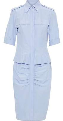 Jason Wu Ruched Cotton And Silk-blend Poplin Shirt Dress