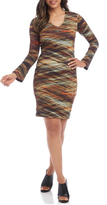 Karen Kane Long Sleeve Print Body-Con Dress