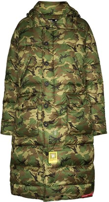 R 13 x Brumal camouflage-print puffer coat