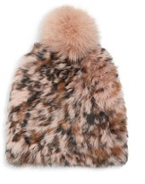 MARCUS ADLER Leopard-Print Rabbit Fur & Fox Fur Pom-Pom Beanie