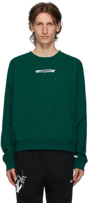 Off-White Green and White Hand Painters Sweatshirt