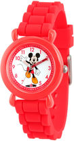 Disney Mickey Mouse Boys Red Strap Watch-Wds000142