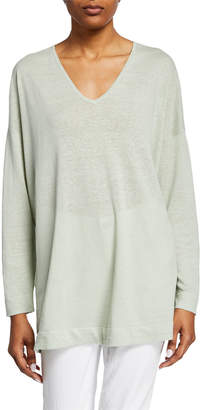 Eileen Fisher V-Neck Long-Sleeve Organic Linen/Cotton Tunic Sweater