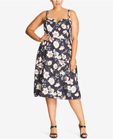 City Chic Trendy Plus Size Floral-Print Sundress