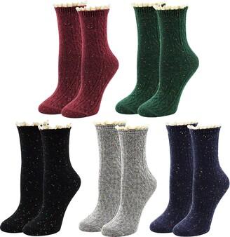 Bellady Lace Slouch Socks Women Cotton Crew Socks Frilly Ruffle Boot Socks 5 Pairs