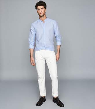 Reiss Casey - Cotton Linen Grandad Collar Shirt in Soft Blue