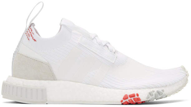 adidas White and Red NMD Racer PK Sneakers
